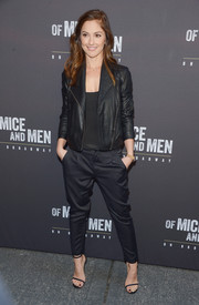 Minka Kelly matched black on black with this stylish moto jacket.