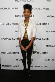 Willow Smith loves showing her edgy style, especially with these black skinny pants with a fun ruffle at the bottom.