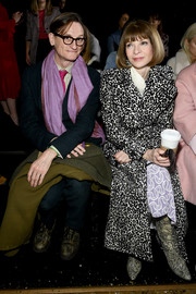 Anna Wintour sat front row at the Michael Kors Fall 2019 show wearing a classic leopard-print coat.