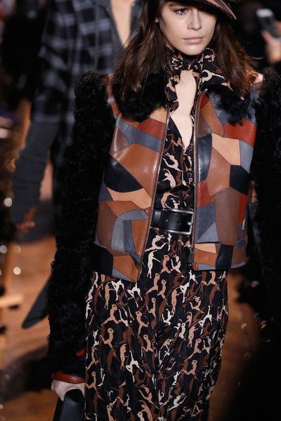 More Pics of Kaia Gerber Print Dress (1 of 7) - Kaia Gerber Lookbook - StyleBistro [fashion model,fashion,fashion show,runway,clothing,street fashion,haute couture,outerwear,fashion design,event,michael kors collection fall 2019 runway show,runway,new york city,cipriani wall street,kaia gerber]