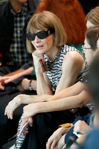 More Pics of Anna Wintour Print Dress (1 of 3) - Dresses & Skirts Lookbook - StyleBistro [michael kors collection spring 2019 runway show,eyewear,lady,sunglasses,hairstyle,fashion,hand,glasses,sitting,finger,vision care,anna wintour,front row,new york city,pier 17]