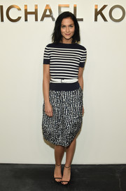 Leigh Lezark was casual-chic in a black-and-white striped knit top by Michael Kors during the label's fashion show.