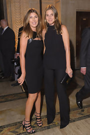 Nina Garcia looked ultra chic at the Golden Heart Gala in a leather-panel LBD with peekaboo detailing.