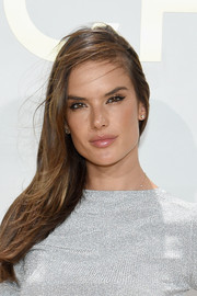 Alessandra Ambrosio wore her hair in a casual side sweep during the Michael Kors fragrance launch.