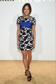Aimee Song donned a Michael Kors floral-embroidered mini dress for the label's fragrance launch.