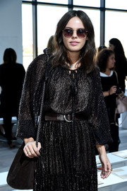 Atlanta de Cadenet teamed round sunnies with a peasant dress for a boho look during the Michael Kors fashion show.