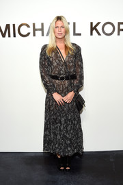 Alexandra Richards went for a boho feel with this printed peasant dress at the Michael Kors fashion show.