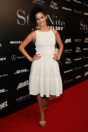 Shermine Shahrivar wore a flirty white knit dress for the Michalsky Style Nite.