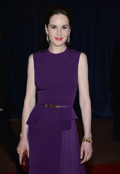 Michelle Dockery Gold Bracelet [white house correspondents association dinner,clothing,dress,fashion model,fashion,purple,cocktail dress,beauty,hairstyle,fashion show,haute couture,washington dc,washington hilton,michelle dockery]