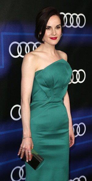 Michelle Dockery Box Clutch [dress,clothing,hair,shoulder,cocktail dress,hairstyle,fashion model,strapless dress,beauty,joint,arrivals,michelle dockery,california,los angeles,cecconis restaurant,audi celebrates emmys]
