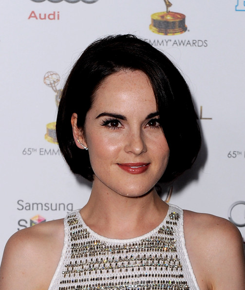 Michelle Dockery Ear Cuff [hair,face,hairstyle,eyebrow,chin,shoulder,lip,forehead,black hair,bob cut,michelle dockery,pacific design center,west hollywood,california,academy of television arts sciences,performer nominee reception,65th primetime emmy awards]