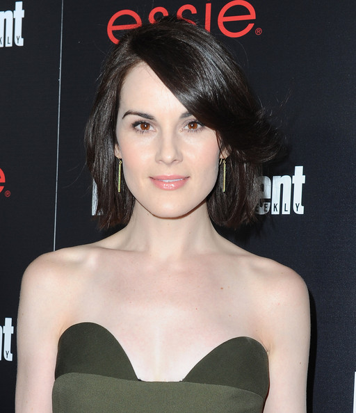 Michelle Dockery Gold Dangle Earrings [hair,face,hairstyle,chin,lip,beauty,eyebrow,skin,forehead,shoulder,michelle dockery,nominees,essie - arrivals,nominees,sag awards,chateau marmont,tnt tbs,entertainment weekly,entertainment weekly celebration honoring this year,celebration]
