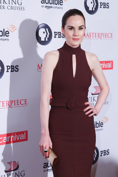 Michelle Dockery Statement Ring [downton abbey,clothing,dress,cocktail dress,carpet,red carpet,fashion,little black dress,shoulder,neck,premiere,michelle dockery,new york city,millenium hotel,premiere,series season six premiere]