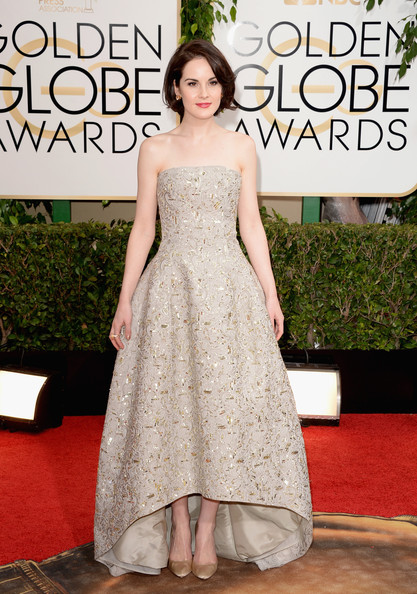 Michelle Dockery Pumps [gown,flooring,dress,carpet,cocktail dress,shoulder,red carpet,fashion,fashion model,haute couture,arrivals,michelle dockery,beverly hills,california,the beverly hilton hotel,golden globe awards,annual golden globe awards]