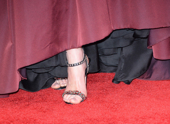 Michelle Dockery Strappy Sandals [red,pink,leg,footwear,carpet,ankle,flooring,high heels,shoe,textile,arrivals,michelle dockery,shoe detail,california,los angeles,nokia theatre l.a. live,primetime emmy awards]