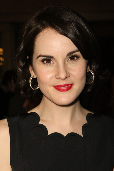 Michelle Dockery Diamond Hoops [hair,face,lip,eyebrow,hairstyle,chin,beauty,cheek,black hair,lipstick,michelle dockery,content,anonymous content,golden globes,anticipation,west hollywood,hbo,true detective,event,pre-golden globes event]