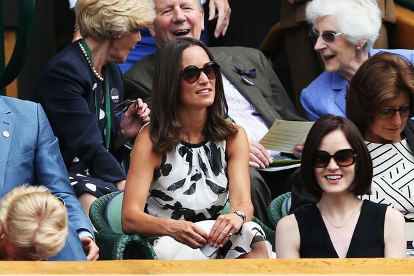 Michelle Dockery Square Sunglasses [people,eyewear,event,glasses,performance,recreation,tourism,vision care,leisure,student,pippa middleton,michelle dockery,wimbledon,england,london,all england lawn tennis and croquet club,championships,wimbledon lawn tennis championships]