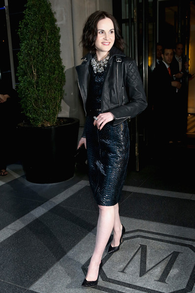 Michelle Dockery Leather Jacket [punk: chaos to couture costume institute gala,clothing,leather,fashion,dress,fashion model,leather jacket,snapshot,street fashion,jacket,leg,michelle dockery,new york city,mark hotel,metropolitan museum of art,departures,costume institute gala]