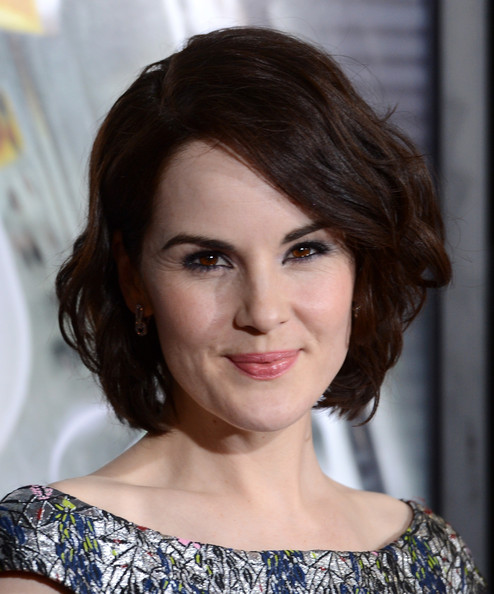Michelle Dockery Short Wavy Cut [hair,face,hairstyle,eyebrow,lip,chin,beauty,brown hair,layered hair,shoulder,arrivals,michelle dockery,california,regency village theatre,universal pictures,studiocanal,westwood,premiere,premiere]
