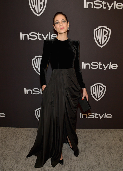 Michelle Monaghan Box Clutch [little black dress,flooring,fashion model,shoulder,dress,fashion,catwalk,joint,formal wear,carpet,michelle monaghan,beverly hills,california,the beverly hilton hotel,instyle,red carpet,warner bros. 76th annual golden globe awards,warner bros. 76th annual golden globe awards post-party]