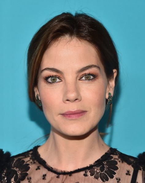 Michelle Monaghan Dangling Gemstone Earrings [hair,face,eyebrow,hairstyle,chin,lip,forehead,cheek,beauty,head,michelle monaghan,lacoste,costume designers guild awards,lacoste - red carpet,beverly hills,california,the beverly hilton hotel,sponsor,sponsor]