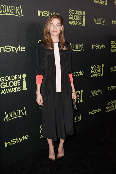 Michelle Monaghan Pumps [season,clothing,premiere,carpet,dress,event,outerwear,little black dress,formal wear,flooring,cocktail dress,arrivals,michelle monaghan,fig,golden globe award,olive melrose place,west hollywood,california,hollywood foreign press association,instyle]