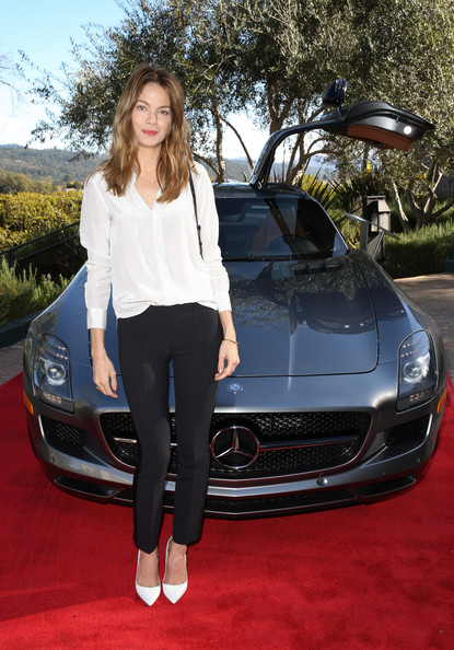 Michelle Monaghan Skinny Pants [land vehicle,vehicle,car,automotive design,auto show,luxury vehicle,performance car,sports car,supercar,hood,producers,michelle monaghan,producers,indie impact,impact,st helena,california,mercedes benz,variety 10,the culinary institute of america]