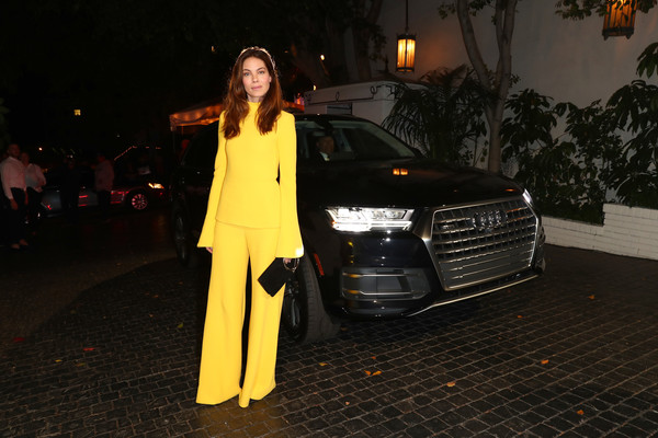 Michelle Monaghan Fitted Blouse [luxury vehicle,vehicle,automotive design,car,yellow,headlamp,audi,fashion,night,street fashion,audi arrivals,michelle monaghan,california,los angeles,chateau marmont,w magazine,audi,best performances party]