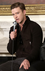 Justin Timberlake chose a brown zip-up jacket with ribbed sleeves for his look at the Student Music Workshop in Washington D.C.