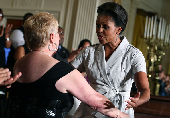More Pics of Michelle Obama Sterling Dangle Earrings (1 of 7) - Michelle Obama Lookbook - StyleBistro