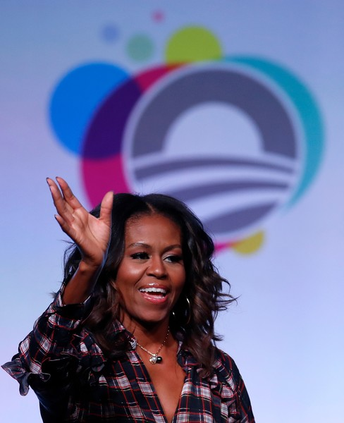 Michelle Obama Pearl Pendant [photo,facial expression,fun,purple,smile,beauty,happy,photography,performance,gesture,michelle obama,michelle host,jim young,chicago,illinois,obama foundation summit]