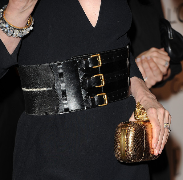 Michelle Pfeiffer Oversized Belt [clothing,fashion,dress,waist,belt,arm,little black dress,neck,handbag,leather,michelle pfeiffer,18th annual women in hollywood tribute - arrivals,california,los angeles,four seasons hotel,elle,18th annual women in hollywood tribute]