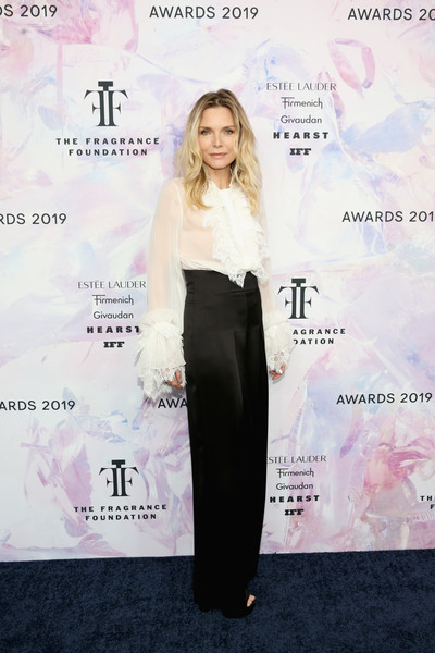 Michelle Pfeiffer High-Waisted Pants [clothing,dress,shoulder,fashion,waist,flooring,carpet,formal wear,long hair,red carpet,fragrance foundation awards,david h. koch theater,new york city,lincoln center,michelle pfeiffer]
