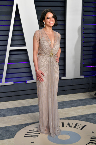 Michelle Rodriguez Beaded Dress [oscar party,vanity fair,fashion model,clothing,dress,fashion,shoulder,gown,haute couture,fashion show,beauty,formal wear,california,beverly hills,wallis annenberg center for the performing arts,radhika jones - arrivals,radhika jones,michelle rodriguez]