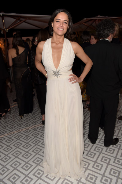 Michelle Rodriguez Cutout Dress [once upon a time in hollywood,dress,gown,clothing,fashion,haute couture,formal wear,shoulder,hairstyle,event,carpet,michelle rodriguez,hollywood,france,cannes,jw marriott,after party,party]