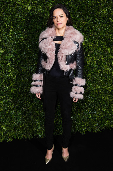 Michelle Rodriguez Skinny Pants [fur,fur clothing,clothing,fashion,lady,skin,outerwear,pink,textile,jacket,charles finch,michelle rodriguez,chanel pre-baftas dinner,pre-baftas,loulou,london,england,chanel,dinner]