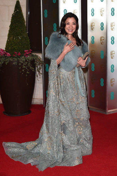 Michelle Yeoh Embroidered Dress [red carpet,carpet,clothing,flooring,dress,hairstyle,fashion,long hair,premiere,gown,red carpet arrivals,michelle yeoh,ee,england,london,grosvenor house,british academy film awards gala,british academy film awards gala dinner]