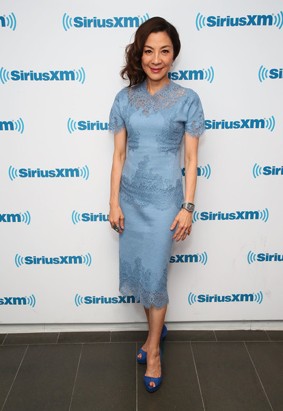 Michelle Yeoh Peep Toe Pumps [entertainment weekly radio spotlight with the cast of crazy rich asians,clothing,dress,blue,fashion,cocktail dress,footwear,shoulder,fashion design,electric blue,event,michelle yeoh,new york city,siriusxm]