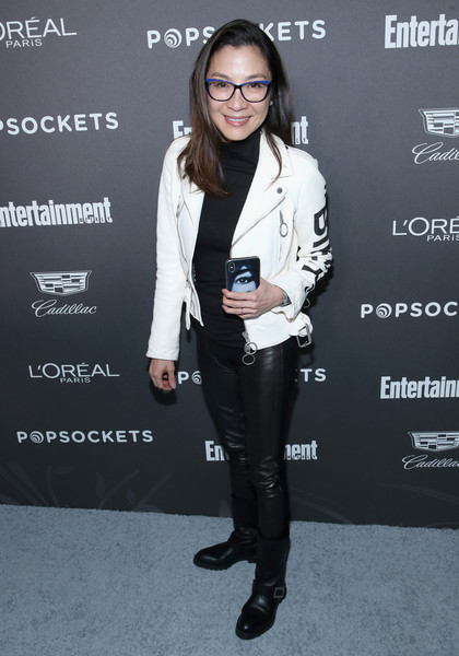 Michelle Yeoh Leather Jacket [clothing,footwear,suit,fashion,outerwear,pantsuit,jacket,blazer,event,shoe,nominees,popsockets - arrivals,michelle yeoh,popsockets,entertainment weekly celebrates screen actors guild award,chateau marmont,california,los angeles,lor\u00e9al paris,cadillac]