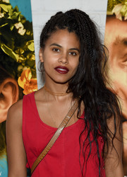 Zazie Beetz rocked a messy, partially braided 'do at the New York screening of 'Midsommar.'