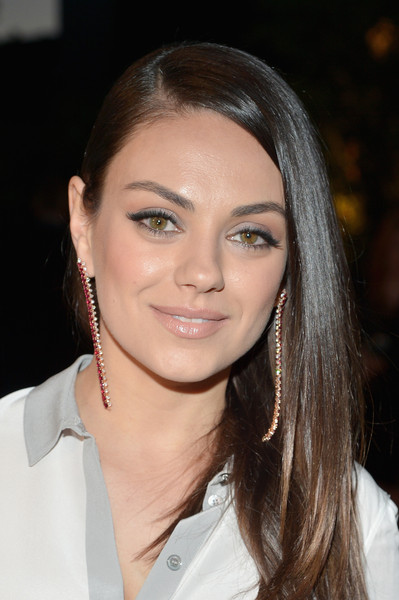 Mila Kunis Dangling Gemstone Earrings [hair,face,eyebrow,hairstyle,lip,beauty,chin,forehead,skin,brown hair,mila kunis,los angeles,london,california,griffith observatory,burberry,red carpet,event]