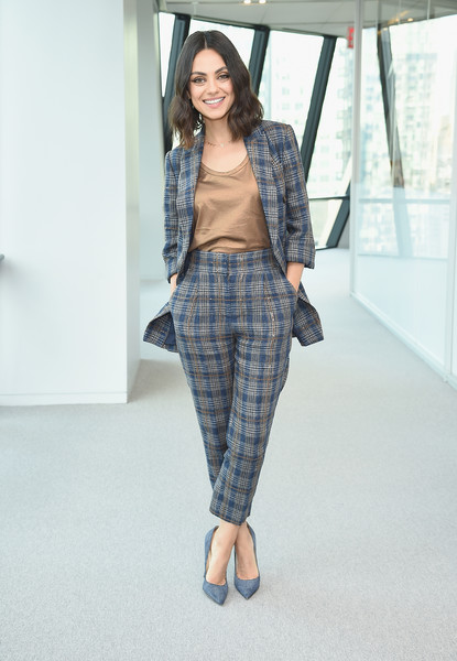 Mila Kunis Pantsuit [the spy who dumped me,clothing,fashion model,jeans,fashion,denim,plaid,tartan,pattern,design,shoe,cosmo,michele promaulayko,mila kunis,hearst tower,new york city,host screening,screening]
