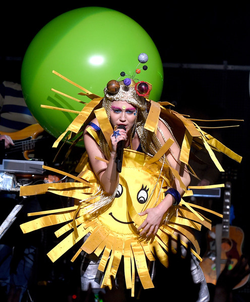 More Pics of Miley Cyrus Bra (8 of 25) - Bra Lookbook - StyleBistro [miley cyrus,dead petz,her dead petz perform,performance art,yellow,fashion,performance,carnival,dancer,event,costume design,performing arts,theatrical property,the wiltern,california,los angeles]