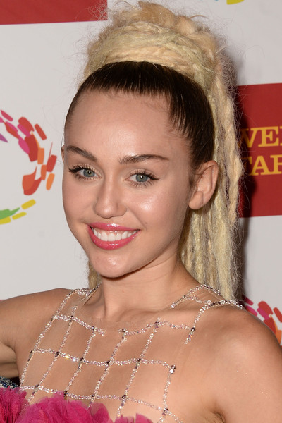 Miley Cyrus Dreadlocks [hair,face,hairstyle,eyebrow,beauty,blond,chin,lip,forehead,eyelash,arrivals,miley cyrus,california,los angeles,hyatt regency century plaza,anniversary gala vanguard awards,46th anniversary gala vanguard awards]