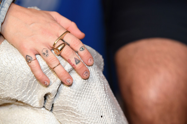 Miley Cyrus Artistic Design Tattoo [nail,finger,hand,ring,wedding ring,joint,engagement ring,jewellery,fashion accessory,wrist,iheartsummer,miley cyrus,tattoo detail,fontainebleau miami beach,florida,at t]