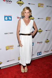 Julie Bowen opted for a loose white jumpsuit when she attended the Milk + Bookies Story Time celebration.