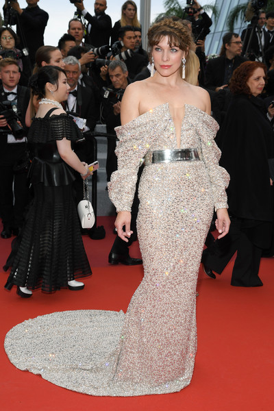 Milla Jovovich Off-the-Shoulder Dress [red carpet,carpet,fashion model,dress,gown,flooring,clothing,fashion,premiere,haute couture,carpet,supermodel,milla jovovich,sibyl red carpet,screening,red carpet,fashion,haute couture,fashion model,the 72nd annual cannes film festival,red carpet,supermodel,fashion,haute couture,celebrity,socialite,model,runway,fashion model,carpet]