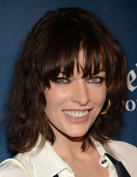 Milla Jovovich Medium Wavy Cut with Bangs