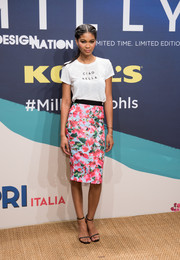Chanel Iman hit the Milly for DesigNation launch wearing a 'Ciao Bella' T-shirt from the collection.