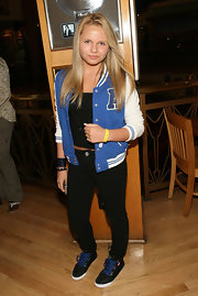 Alli Simpson looked all American in this blue letterman jacket.